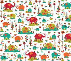 For Minda ~ Happy Elephants fabric by gracedesign on Spoonflower