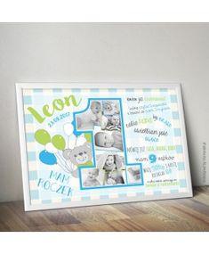 W pełni personalizowana metryczka roczkowa ze zdjęciami Twojego dziecka, która pozwoli zachować wspomnienia ważne, o których potem podczas dojrzewania można zapomnieć. Dzięki metryczce wspomnienia te będą wieczne. Frame, Gifts, Kids Rooms, Design, Decor, Board, Picture Frame, Presents, Decoration