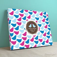 Flock Of Birds Unique Guest Book Alternative - Peachwik - Birds of The Feather Wedding Theme - Guestbook Canvas - Pink, sky, blue