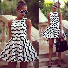 New Fashion Black and White Stripe Dress Women's Dress Sleeveless Dress Hotsail