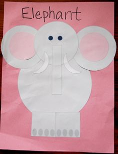 """""""E"""" says elephant. This is a great way to use shapes to make an animal!"""