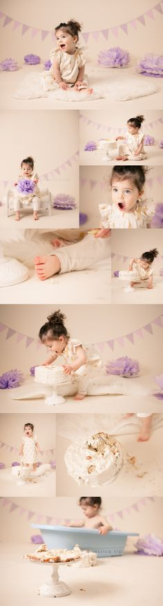 2 year old cake smash session - neutrals and lilacs I like how it ends with a bath tub