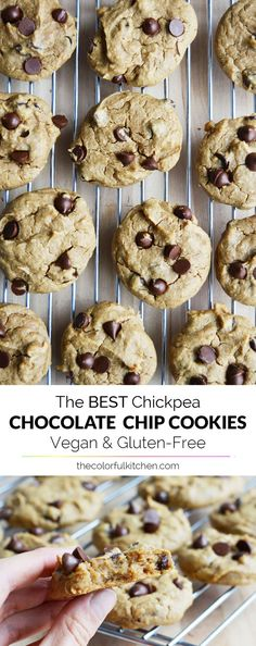 Vegan, glutenfrei … The BEST chickpea chocolate chip cookies I've ever tried! Vegan, gluten-free and refined-sugar free! So easy and delicious! Brownie Desserts, Oreo Dessert, Mini Desserts, Coconut Dessert, Healthy Desserts, Chickpea Chocolate Chip Cookies, Chickpea Cookies, Chocolate Cookies, Chocolate Desserts