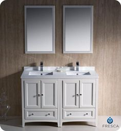 """We could also do 2 24 inch single vanities, custom top makes it look like one piece Fresca Oxford 48"""" Traditional Bathroom Vanity - Antique White with Integrated Sinks BathVanityExperts.com"""