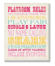 Love this Pink 'Playroom Rules' Typography Wall Plaque by Stupell Industries on #zulily! #zulilyfinds