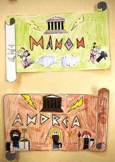 arts visuels : photos des étiquettes porte-manteaux - CM - mythologie - un petit coin de partage Animation, Art Plastique, Centre, Teaching, Activities, Education, Drawings, School, Blog