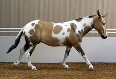 Faux Mule -- painted resin model of a Homozygous Tobiano mule --  looked good and I thought it was real for a minute...