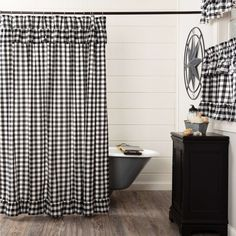 Decorate your bathroom with the perfect blend of simplicity and country charm with the Annie Buffalo Black/Red Check Ruffled Shower Curtain. Featuring large scale black and white checks beautifully accented with ruffles, our 72x72 fabric shower curtain provides a vintage, farmhouse touch to your decor. This machine washable, 100% cotton shower curtain includes button holes for shower hooks and a rod pocket for versatility and convenience. Features PREMIUM CONSTRUCTION: with over two decades… Ruffle Shower Curtains, Shower Curtain Rods, Country Shower Curtains, Curtain Panels, Bathroom Curtains, Western Curtains, Buffalo Check Curtains, Farmhouse Shower Curtain, Wholesale Home Decor