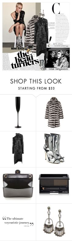 """Cara/Edie"" by shift ❤ liked on Polyvore featuring Oris, Andy Warhol, Riedel, Magda Butrym, Marco de Vincenzo, Lanvin, Shiseido, Assouline Publishing, Scholl and Smashbox"