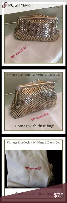 """VINTAGE Whiting & Davis Co. kiss lock Gold Clutch Whiting and Davis International Gold Kiss lock Small/Feminine Clutch Purse  W/Dust Bag BEAUTIFULLY VINTAGE! Flashing metallic mesh coin bag. 4.5""""W x 3""""H x 3""""D. Aged w/beauty! Not mint inside but no rips or tears!  Style: small Clutch bag (great for formal or casual)  Closure: Kiss Lock , metal tag, inside!  Includes: a homemade Dust Bag for proper storage (FYI) never store these W&D mesh in plastic. Pics are of actual bag, estate fresh, sale…"""