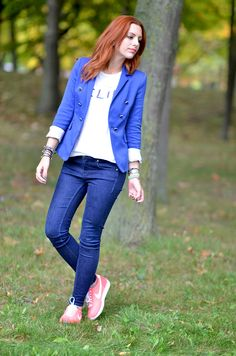 casual look with blue blazer