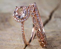 Sale 2 carat Antique Milgrain Round Morganite and Diamond Trio Ring Set in Rose Gold with One Halo Engagement Ring and 2 Wedding Bands Morganite Engagement, Rose Gold Engagement Ring, Engagement Ring Settings, Halo Engagement, Wedding Rings Rose Gold, Bridal Rings, Wedding Jewelry, Wedding Bands, Gold Rings
