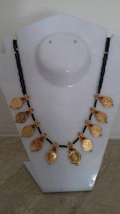 Made of black beads and laxmi kasulu Jewelry Design Earrings, Gold Earrings Designs, Bead Jewellery, Beaded Jewelry, Gold Jewelry, Gold Necklace, India Jewelry, Handmade Jewellery, Jewlery