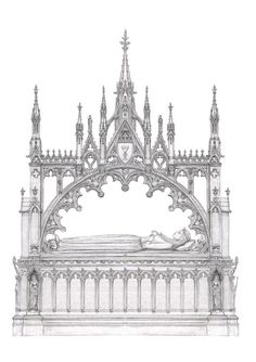 Gothic tomb by dashinvaine on DeviantArt Gothic Architecture Drawing, Architecture Antique, Cathedral Architecture, Historical Architecture, Architecture Details, Gothic Home Decor, Gothic Art, Black And White Building, Armadura Medieval