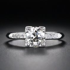 Mid-Century Vintage 1.10 Carat Diamond Engagement Ring - 10-1-4966 - Lang Antiques