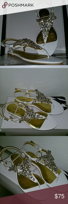 Nine West Diamond Sandals Perfect for a bridal shower, bachelorette, birthday girl. Great to have to change into after a long night of wearing heels. They were unfortunately too big for me.   Brand new, never worn. Comes with original box. Nine West Shoes Sandals