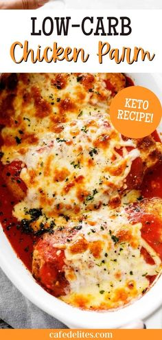 Low-Carb Chicken Parmesan with a crispy keto coating tastes just like a classic parmigiana without the carb-loaded guilt! Miss your beloved Chicken Parmigiana? Smothered in a rich homemade tomato sauce and melted mozzarella cheese, there's no doubt you'll be adding this Low-Carb Chicken Parmesan recipe back into your Keto diet!