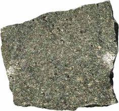 Andesite (volc): Porphyritic, medium grey, generally dark phenocrysts (augite or hornblende), but may have light-coloured phenocrysts (feldspar)