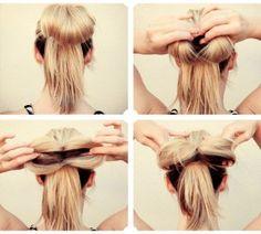 Hermoso moño. Encuentra más ideas de peinados sencillos en...http://www.1001consejos.com/peinados-en-5-minutos/