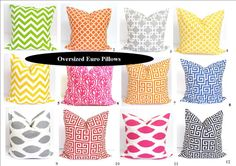 Custom Euro Pillow Shams for JAMIE.Two 23x23 inch. Pillow Covers.Printed Fabric Front and Back.Floor Cushions. $54.00, via Etsy.