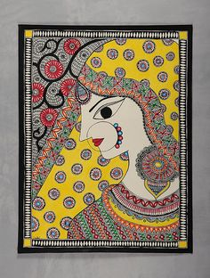 Village Lady Madhubani Painting x Mural Painting, Mural Art, Watercolor Painting, Watercolor Mandala, Knife Painting, Watercolor Artists, Madhubani Art, Madhubani Painting, African Art Paintings