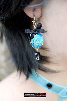 Blue rose earrings pastel goth kawaii style by ClaudiaCandeiasArt, €3.20