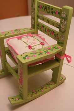 Custom Doll Rocking Chair And Cushion Custom Painted And Custom Cushion For…