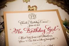 birthday dinner ideas | Hayley Hardcastl e also hand wrote each menu card which served as the ...