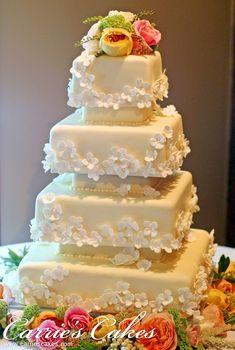 unique wedding cakes | Wedding and Birthday cakes: Five tier square unique modern wedding ...