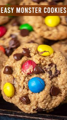 Peanut Butter M&M Monster Cookies are full of peanut butter, oatmeal, M&M's, chocolate chips and.no flour. Big batch cookies that are freezer friendly. Monster Cookie Recipe No Flour, Peanut Butter Recipes, No Bake Desserts, Chocolate Chips, Great Recipes, Cookie Recipes, Oatmeal, Food Ideas, Cookies