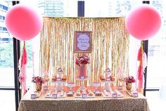 The finished pink and gold candy/dessert buffet setting for my Birthday Celebration 21st Birthday, Birthday Celebration, Birthday Parties, Birthday Ideas, Bridal Shower Balloons, Wedding Balloons, Giant Balloons, White Balloons, Gold Candy Buffet