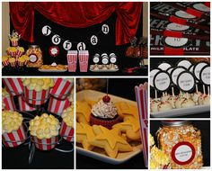MOVIE THEMED PARTY STYLED BY BUTTERCREAM BAKEHOUSE - I like the table with the red fabric draped behind