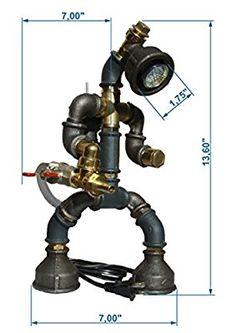 Easy2cook-Vintage- Retro Handmade- Steampunk Pipe Table Lamp- Robot Fireman