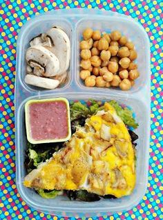 Spanish omelette, green salad with chickpeas, mushrooms and raspberry vinaigrette