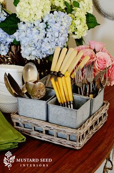 {Utilitarian Charm} Tray with Galvanized Cubbies ~ so cute! Silverware Caddy, Cutlery Holder, Country Kitchen Island, Catering Food Displays, Small Tins, Basket Organization, Miss Mustard Seeds, Shabby Chic Style, Farmhouse Decor
