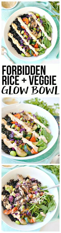 Forbidden Rice & Veggie Glow Bowl. Vegan and gluten free. A nutrient-dense powerhouse bowl with vibrant, sautéed veggies and a creamy lemon tahini sauce over a bed of rice and greens. You'll be feeling properly fueled, balanced and sustained for hours. From The Glowing Fridge. #vegan #glutenfree #VillageHarvestInspired