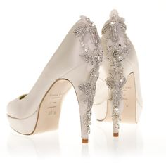 Designer Wedding Shoes By Freya Rose With Swarovski Embellishment On The Heel Bridal