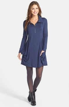kensie Zip Placket French Terry Dress available at #Nordstrom