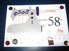 Onnittelukortti. Käsintehty ompeluaiheinen kortti kierrätysmateriaaleista.