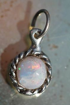 Small Vintage Sterling Silver Australian White Opal Pendant 4 Necklace | eBay
