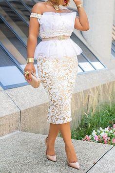 White Lace Bodycon Dress, Elegant Midi Dresses, Beautiful Dresses, White Dresses For Women, African Dress, African Lace, African Style, African Fabric, Classy Dress
