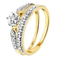 14karaat geelgouden dubbele ring met diamant