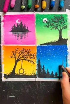 Oil Pastel Drawings Easy, Oil Pastel Paintings, Oil Pastel Art, Simple Acrylic Paintings, Cool Paintings, Oil Pastels, Art Drawings For Kids, Art Drawings Sketches Simple, Drawing Ideas