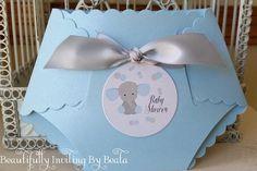 Elefantito bebé ducha invitación azul y por BeautifullyInviting