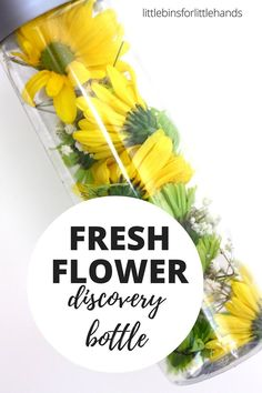 Make a real flower discovery bottle and practice fine motor skills. This flower discovery bottle is a simple Spring fine motor activity with scissor skills. Fine Motor Activities For Kids, Spring Activities, Sensory Activities, Infant Activities, Sensory Play, Sensory Rooms, Camping Activities, Sensory Bags, Sensory Therapy