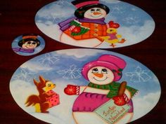 Individuales Navideños con Partavasos Cd Art, Decoupage, Christmas Diy, Snowman, Diy Crafts, Plates, Tableware, Painting, Google