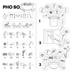 """Instruction of """"How to make Pho"""" in IKEA style. Pho Restaurant, How To Make Pho, Pho Bo, Good Readers, Instructional Design, Food Illustrations, Graphic Design Illustration, Technical Illustration, Mind Blown"""