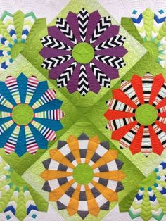 Kathleen's Modern Dresden Plate, quilted by Gina Bean Quilts by nadine