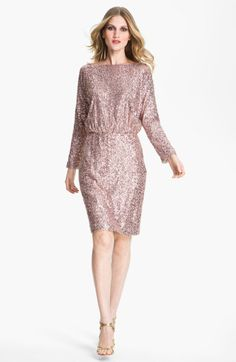 bateau neck sequin dress | St. John Collection Bateau Neck Sequin Dress in Pink (orchid)