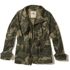 Hollister Camo Twill Shirt Jacket ($60) ❤ liked on Polyvore featuring outerwear, jackets, camo, zip pocket jacket, zip jacket, camoflauge jacket, pocket jacket and cinch jackets